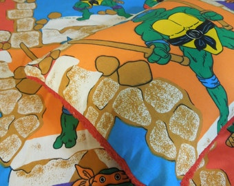Plush fleece Toddler Quilt Blanket - Ninja Turtles Vintage Sheet Travel Pillow Cover and Blanket Nap Time Set