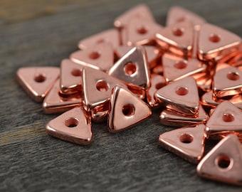 20 Mykonos Copper Triangle Washer - 10mm Copper - Ceramic Copper Bead