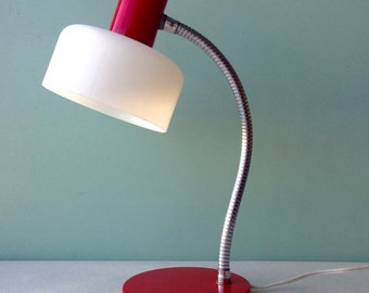 Vintage Lamp, Red Metal Lamp, Retro Lamp