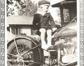 Vintage Motorcycle - Vintage Photo - Harley Davidson - Indian Motorcycle - Vintage Snapshot - Elko Border - Found Original Photo