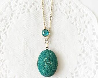 Teal Locket Necklace Elegant Locket Necklace Vintage Locket Necklace Bridesmaid Gift Photo Locket Necklace Emerald Green Oval Locket