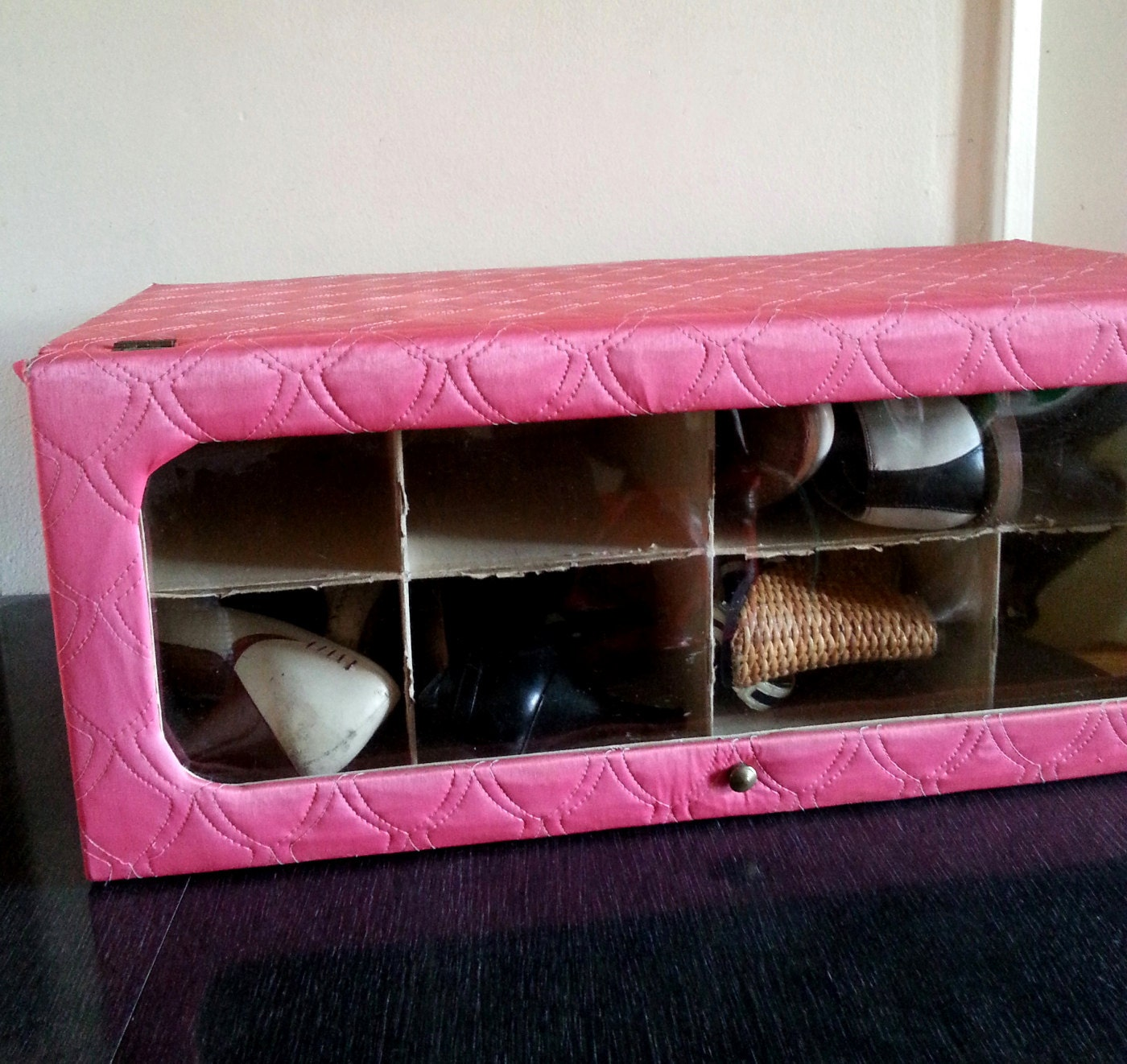 quilted pink shoe storage box vintage 60s