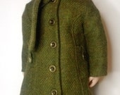 1940 style green wool coat for a girl for all time dolls