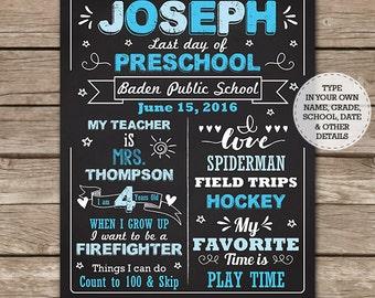 Blue Preschool Chalkboard - First Day of School Chalkboard- Last Day of School Chalkboard - Graduation - Download & Edit in Adobe Reader