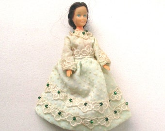 1960s Dollhouse People, Woman, white dress, green accents, blue eyes, rubber doll house girl, poseable toy lady, 4 inch tall, bendable