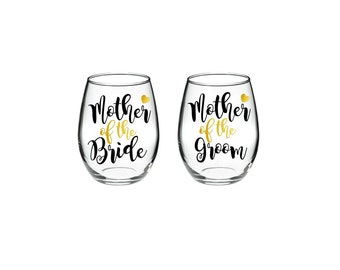 Mother of the Bride - Mother of the Groom - Set of 2 - 21 oz stemless wine glasses