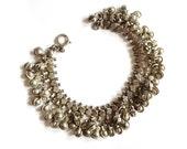 Vintage 1960s Tiny Silver Clubs and Balls Jingling Tinkling Belly Dancer Link Bracelet
