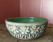 Vintage Stone Bowl With Green Enamel Interior/ Trinket Dish/ Succulent Planter