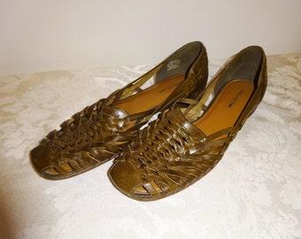 Vintage Huaraches Naturalizer Leather Shoes Sandals 8 1/2 Medium   Dark Brown