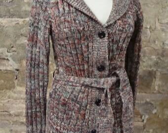 VINTAGE BELTED CARDIGAN marled acrylic vintage sweater S M