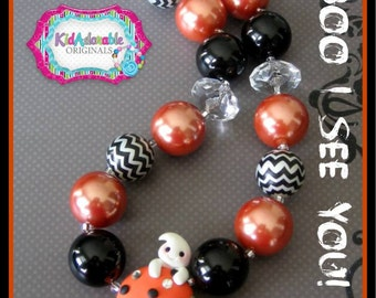 Ghostly Cupcake Chunky Necklace