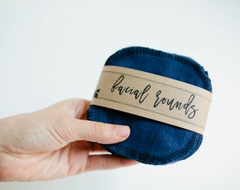 """Facial Rounds  Face Cloth - Make-up Remover - Facial Rounds - 4"""" Face Wipes - Choose your quantity -- NAVY"""