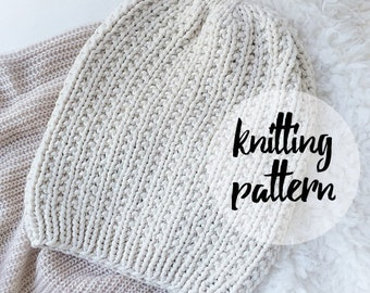 Slouchy Hat Beanie Knitting Pattern / Easy-To-Follow Knit Pattern for Beginners / Instant PDF Digital Download