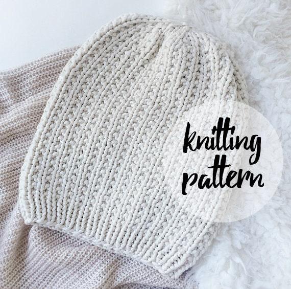 Knitting Patterns For Beginners Beanie : Slouchy Hat Beanie Knitting Pattern / by KnittingWonders on Etsy