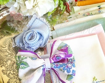 Vintage Hankies Happy Tears Farmhouse Rose & Bow Tie Wedding Favors Guests Handkerchief Gift Floral Country Wedding Hankies (20)
