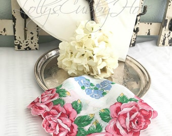 Red Pink Rose Vintage Hanky Floral  Cottage Chic Bridal Bridesmaid Handkerchief Farmhouse Mother's Day  13""