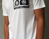 Mixtape shirt / Mens / Unisex tee - Bamboo and organic Cotton tee / music lover / design form linocut