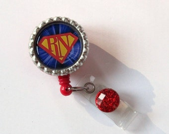 Super RN Retractable Badge Reel - Designer Badge Reels - Male RN Badge Reels - Fun Badge Clips - Creative ID Pulls - Gifts Under 10