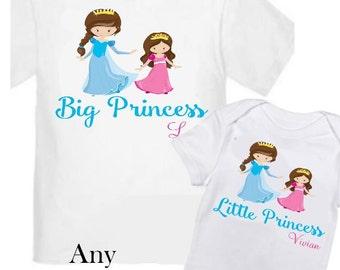 2 Big Sister Princess Shirts Set Siblings Little Sister Siblings T-shirts