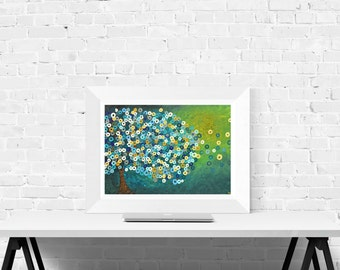 Abstract Tree Art Print - 'Still Night' - Wall Art Print in Teal, Green, Blue, and Yellow - Abstract Fine Art Giclee Print by Louise Mead