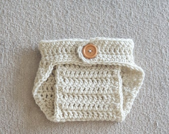 Crochet Baby Boy Baby Girl Diaper Cover, Photography Prop, Size Newborn and Infant – Cream