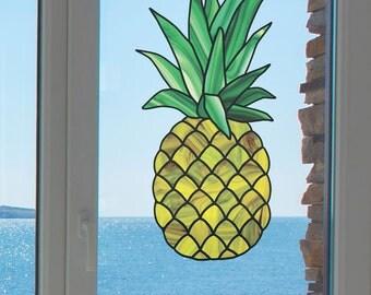 """CLR:WND - Stained Glass Pineapple  - See-Through Vinyl Window Decal  - © 2015 Yadda Yadda Design Co (XL 9""""w x 18"""")"""