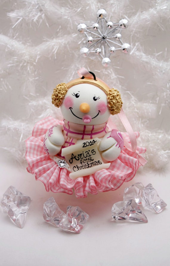 Baby 39 s first christmas snowman ornament by perlillapets on for Babys first christmas decoration