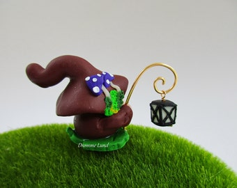 Feldri The Gnomeling Wanderer ~~ Gardener Miniature Gnome With Glow in the Darl Lantern ~ Scandivanian Style Gnome