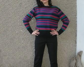 Vintage 80s Bright Stripes Sweater size S-M