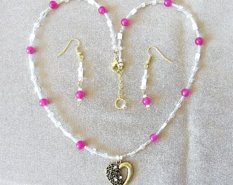 Heart Jewelry Set, Rose Jade w/Crystal Gold Heart Pendant & Earrings, Seed Bead Necklace, Necklace Set, Glass Bead Jewelry, Beaded Jewelry