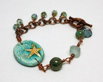Copper Wire-Wrapped Glass Beads Bracelet with Humblebeads Starfish Focal, Beach Jewelry, Artisan Bead Jewelry, Summer Jewelry, Beach Boho