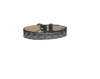 Pyramid Studded Black Leather Bracelet  - Gunmetal Pyramid Studded 10mm Black Flat Leather Buckle Bracelet Wristband