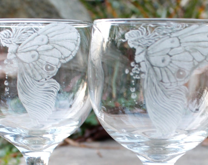 Hand Engraved Fairy Glassware , Stemware, custom etched barware fantasy decor fairy decor gift ideas  engraved wine glasses