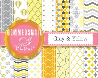 Yellow and gray scrapbook paper, yellow gray background