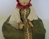 Vintage Russian Doll Folk Art Tea Cozy Cloth Teapot warmer Souvenir 1970s Soviet Era
