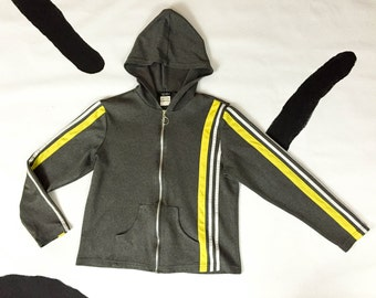 90s Grey Racing Stripe Hoodie / Zip Sweatshirt / Yellow and white stripes / Athletic / Sporty / Vaporwave / Sad Girl / Grunge / Medium /