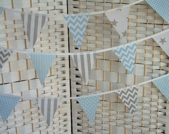 "Mini bunting, banner. Baby blue & grey/ gray.  Sold by the metre (39"") length. Chevrons, stars, stripes. Baby shower, nursery, playroom."
