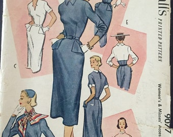 "Vintage 1952 McCall's Misses' Accessory Dress Pattern 9077 Size 14 (32"" Bust)"