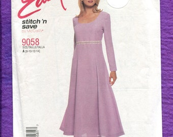 McCalls 9058 Modern Princess Dress Pattern Size 8 10 12 14 UNCUT