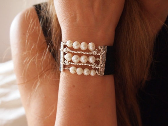White Pearl Cuff  Bracelet - Wide Black Leather & Textured Sterling Silver Bands - Modern Sexy - Handmade to Your Wrist Size