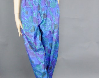 baggy funky pants, 80s high waist trousers, paper bag  waist, tribal  print pants,
