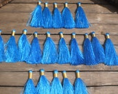 """Silky Tassels 3"""" inches Set Of 20 Blue Color Tassels Gold Tie Thread"""