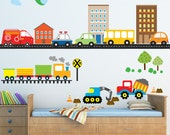 Transportation Fabric Decal Boys Cars Wall Decals, Ecofriendly No Toxins No PVCs Decals, WD95