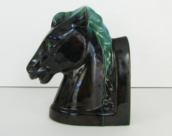 Wild Horse Ceramic Bookend - Vintage 1950s Blue Mountain Pottery in Black & Green - BMP