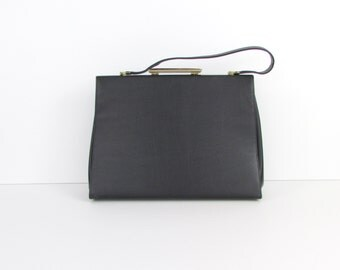 Black Tortoise Handbag - Vintage 1960s Frame Purse by JR