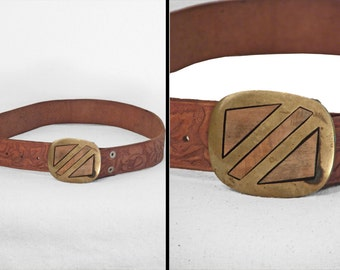 MARY Monogrammed Belt 1970s Tooled Leather Floral Brass Buckle
