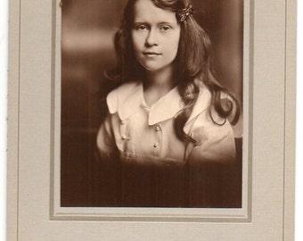 Edwardian Girl With Long Hair Antique Photo Studio Portrait Philadelphia Pennsylvania Vintage Fashion Photograph Victorian Children