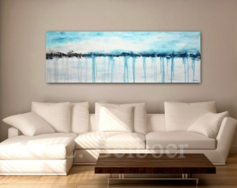 Large abstract painting original panoramic art 5 foot big white blue modern abstract painting oil 20x60 by L.Beiboer