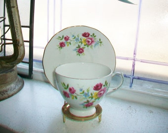 Vintage Queen Anne Tea Cup and Saucer Pink Roses Bone China Made in England