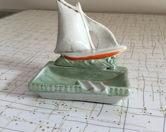 40's Iridescent Ceramic Sailboat Carnival Glass Ashtray Coin Dish Tray Dimestore Kitsch Japan